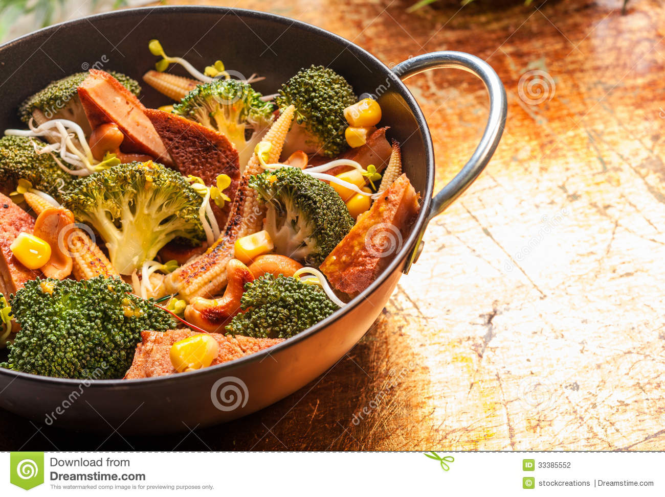 Asian Cuisine With Seasonal Vegetables In A Wok Stock Photo Image