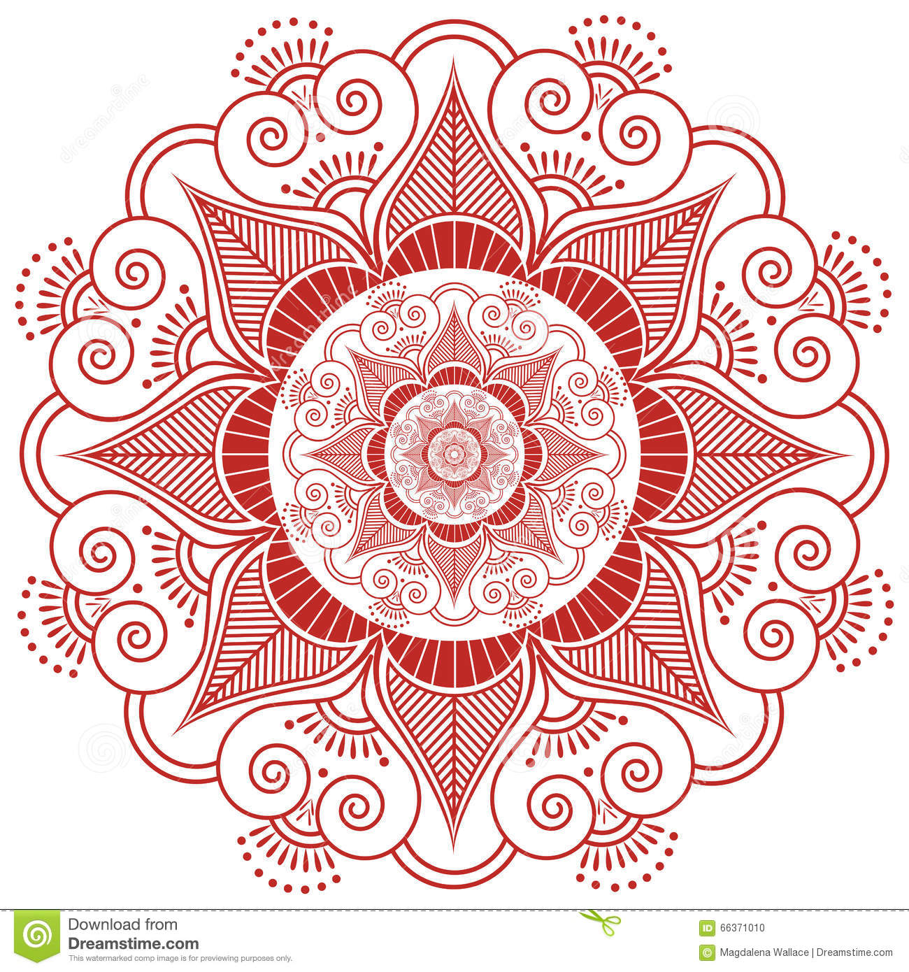 Asian Culture Inspired Wedding Makeup Mandala Henna Tattoo Decoration Flower Shape Made Out Of