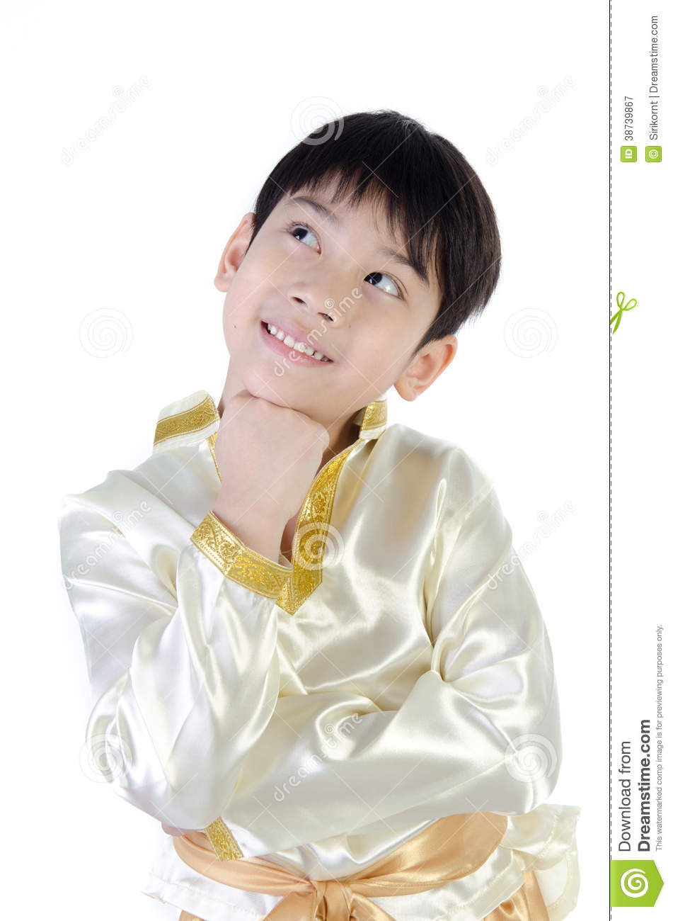 cad9eae7ba8e9 Asian cute boy in thai costume acting think about that on white background  . More similar stock images
