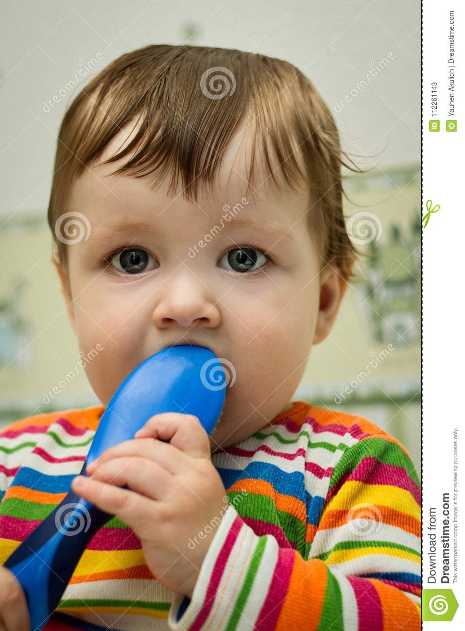 Boy after bath with comb stock image. Image of little - 112261143