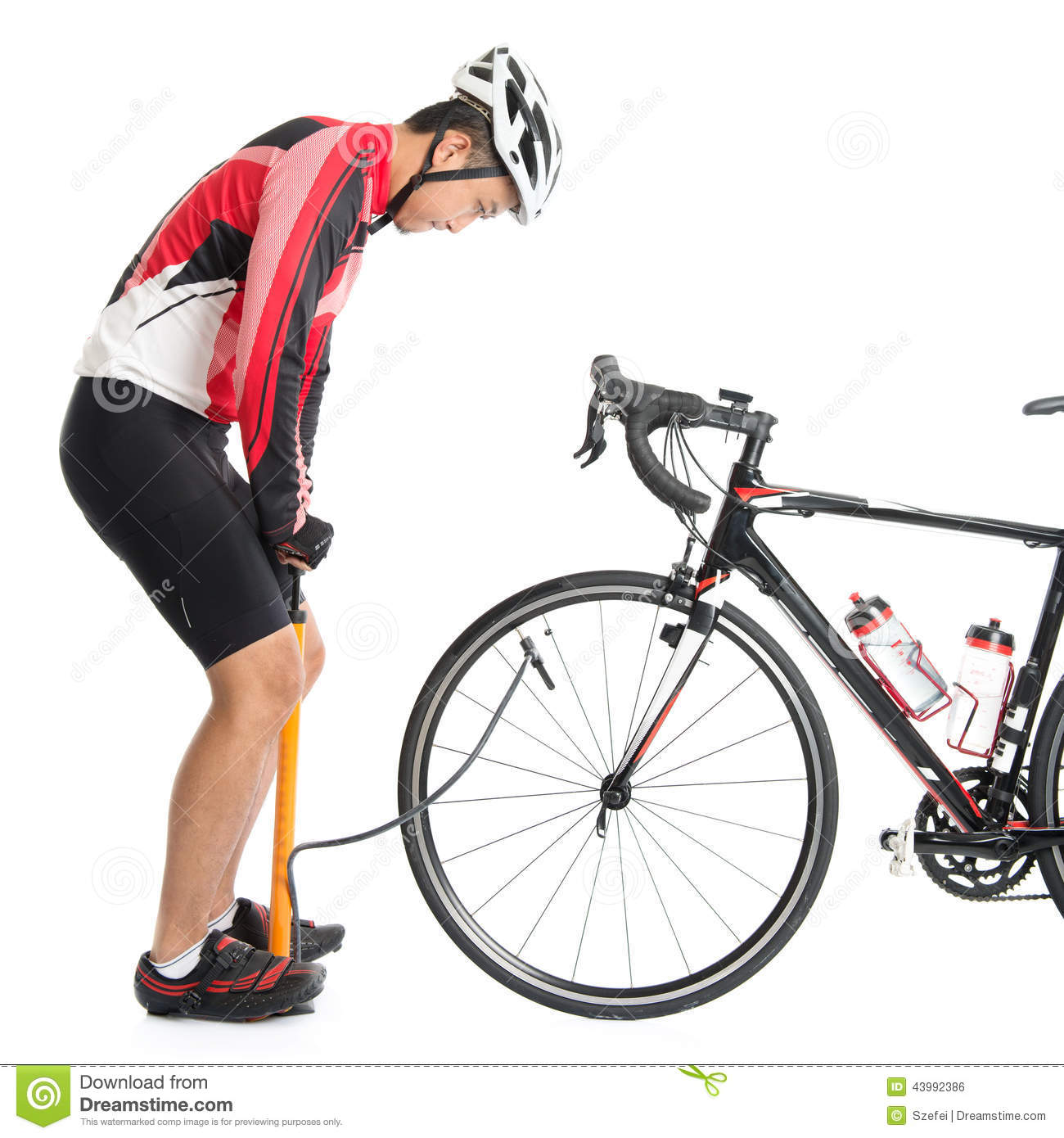 asian cyclist using air pump stock photo image 43992386. Black Bedroom Furniture Sets. Home Design Ideas