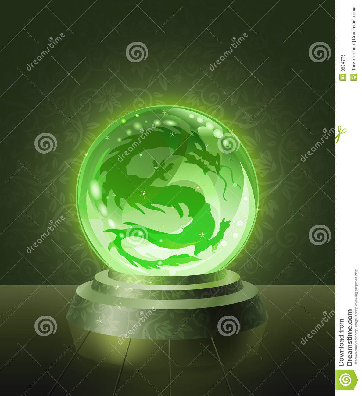Asian Dragon Inside The Crystal Scrying Ball Stock Vector ... Crystal Ball Fortune Teller