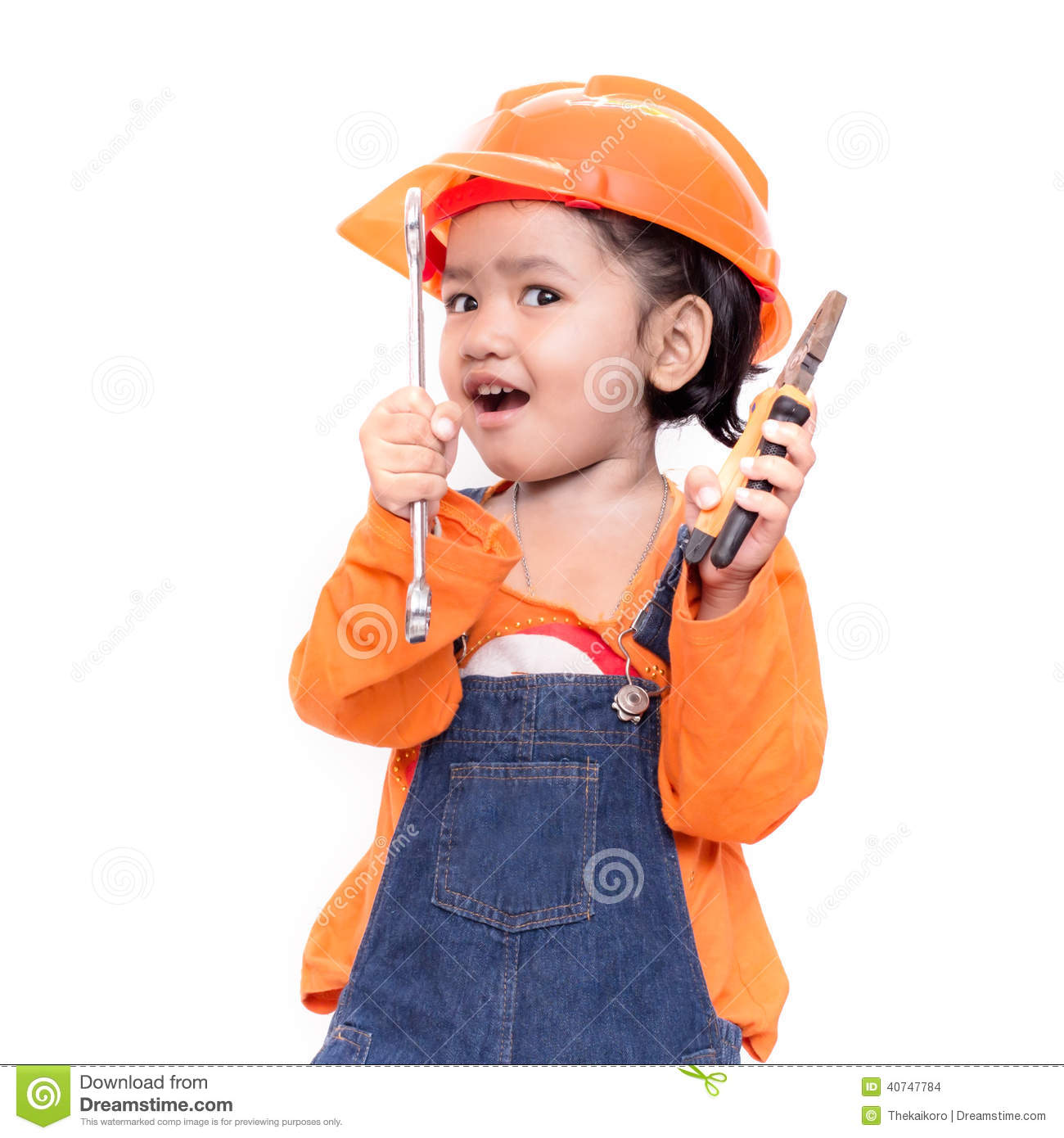 33a809e7c8a Asian Engineer Baby With Tools In Hand Stock Photo - Image of dreams ...