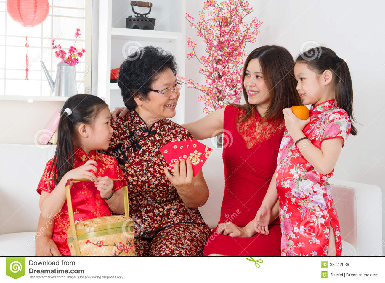 Asian family celebrate chinese new year at home royalty - New year celebration at home ...