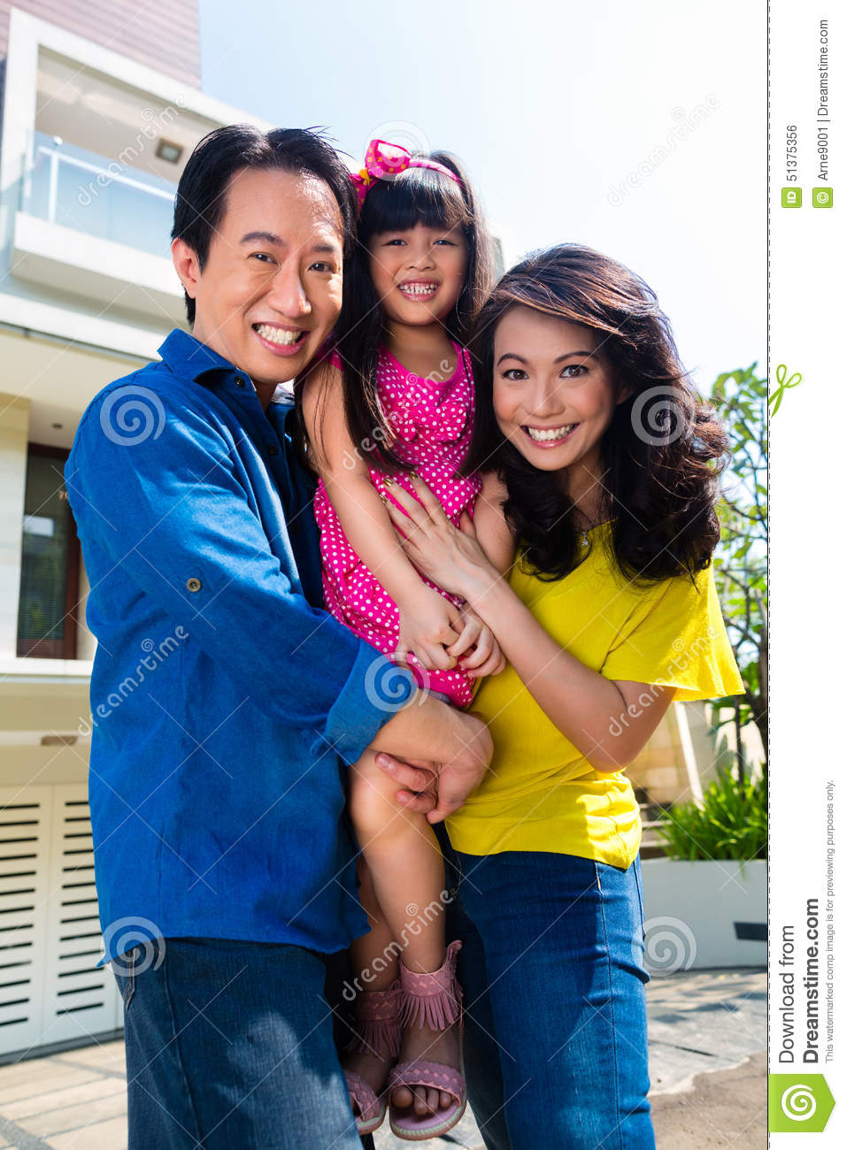 Asian Family With Child Standing - 182.4KB