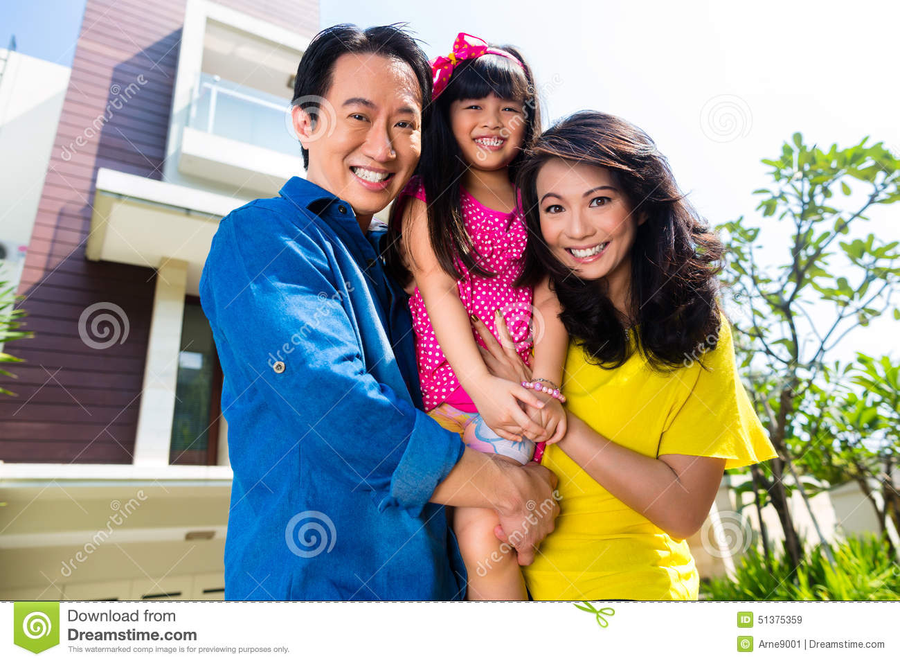 Asian Family With Child Standing - 187.0KB