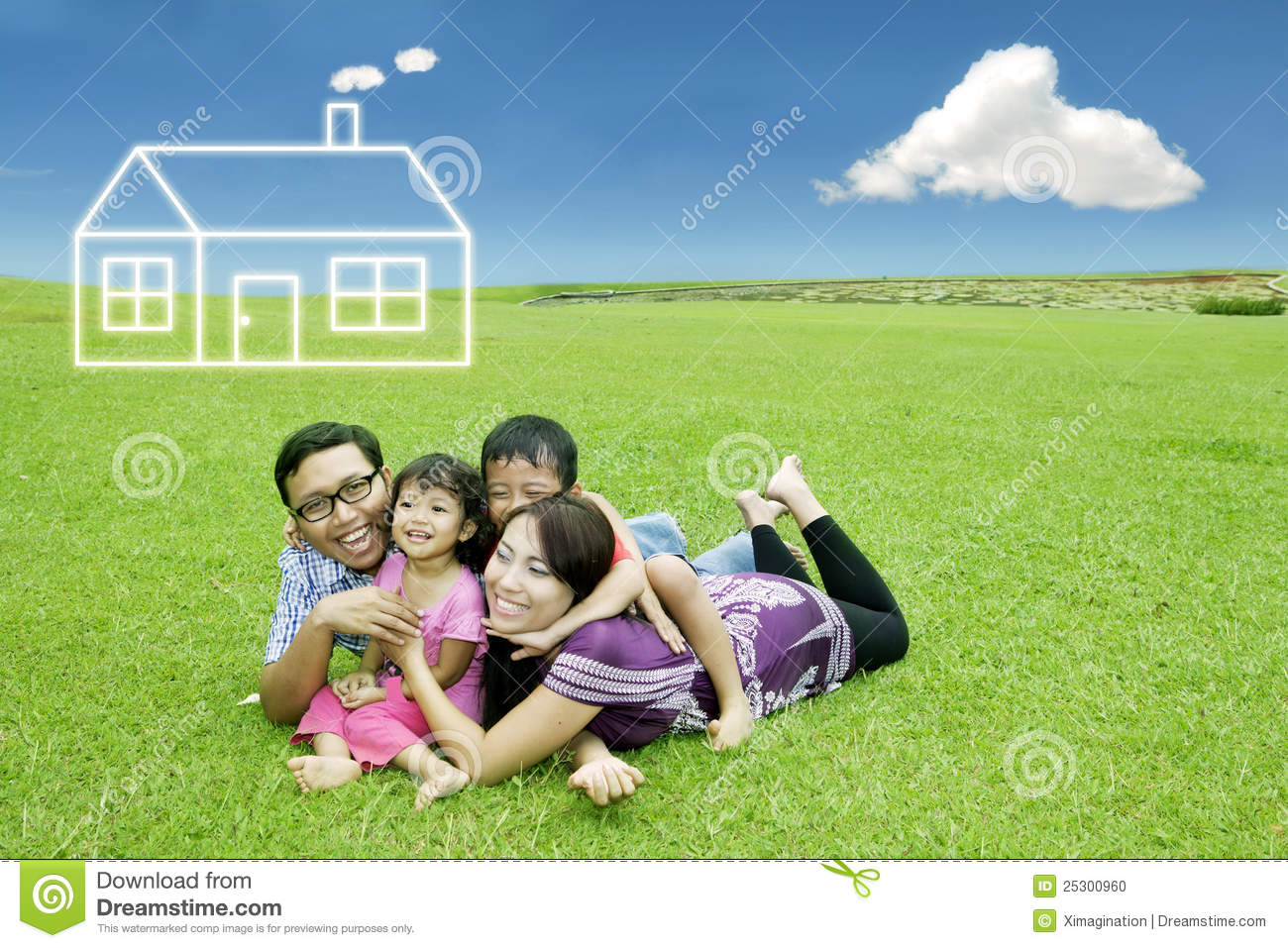 Asian Family With Dream House Stock Photo Image 25300960