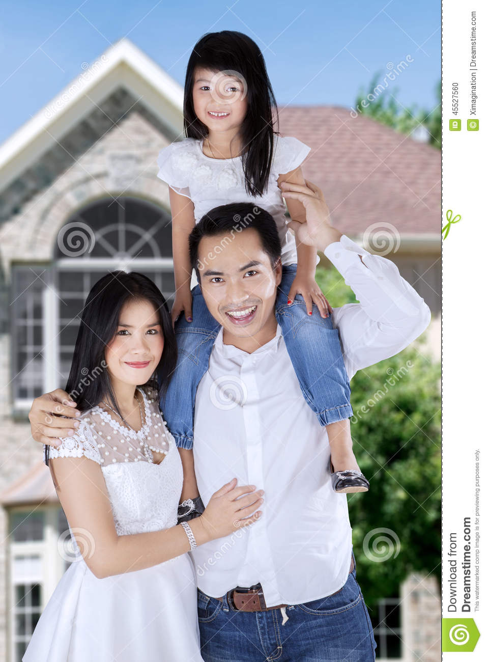 Asian Family In Front Of New House Stock Photo - Image ... Happy Asian Family In Front Of House