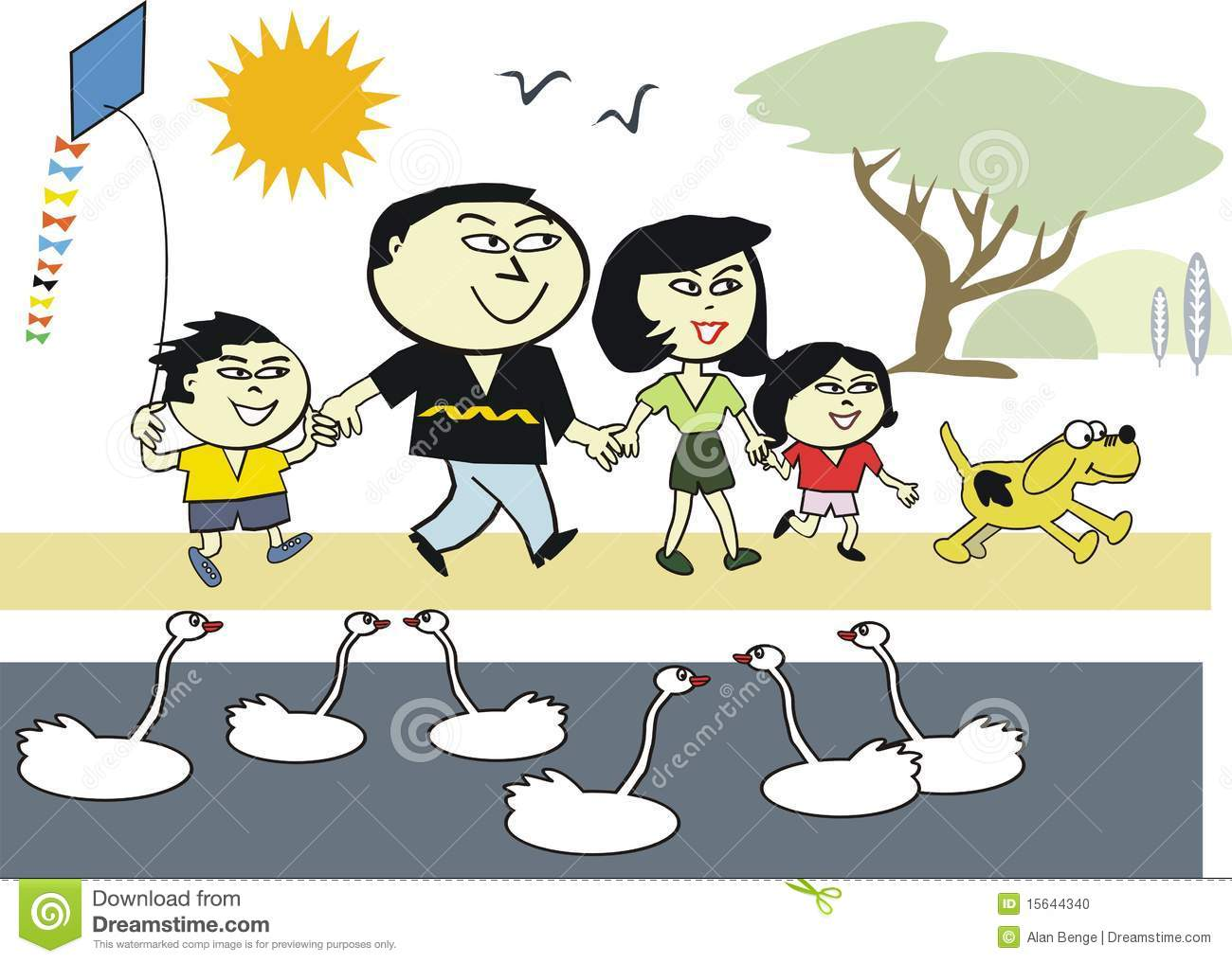 Cartoon Showing Happy Asian Family Walking Outdoors In Park With Pet