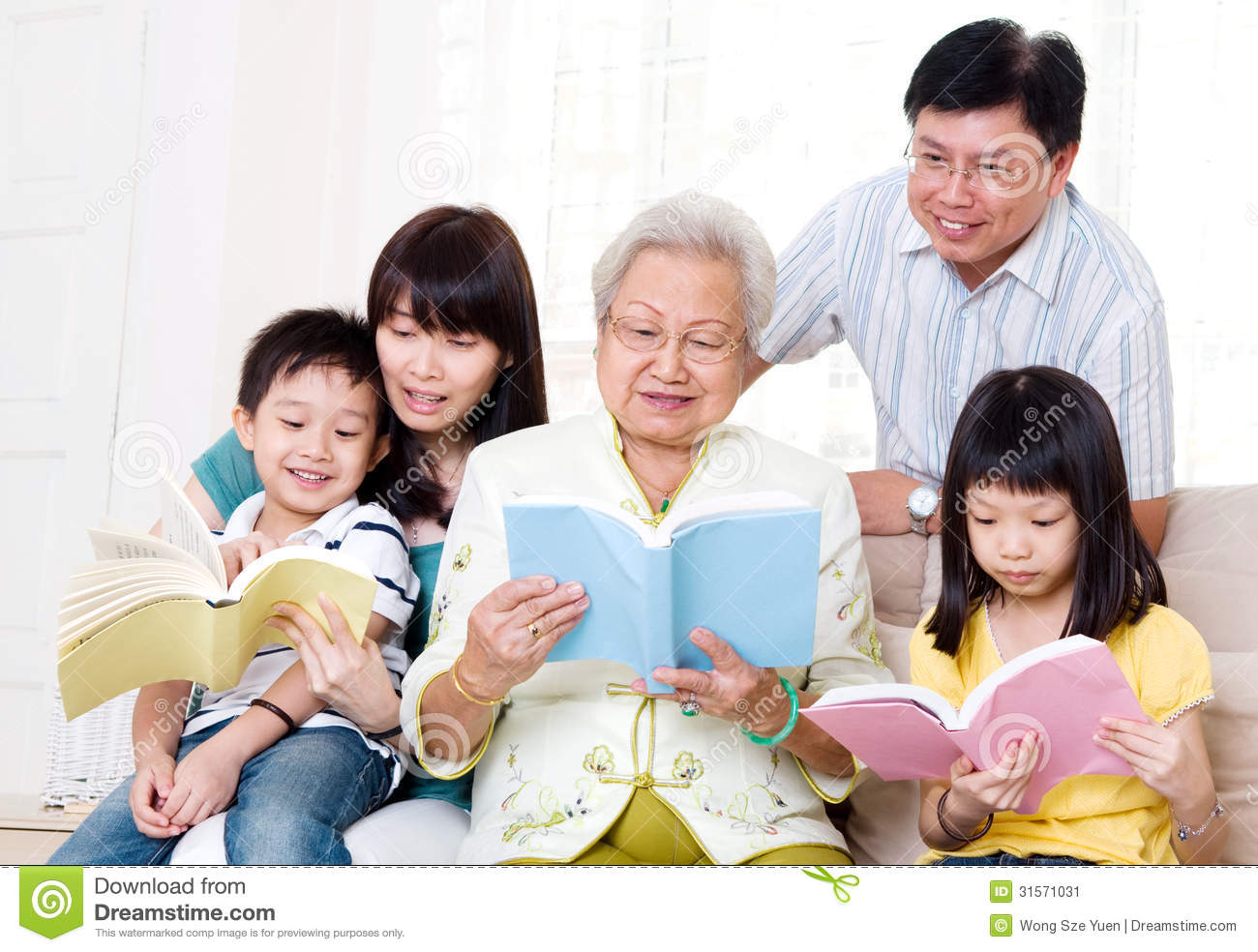 Asian Family Reading Stock Image Image 31571031