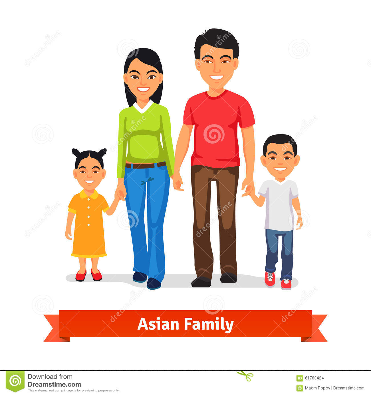 Asian Family Walking Together And Holding Hands Stock