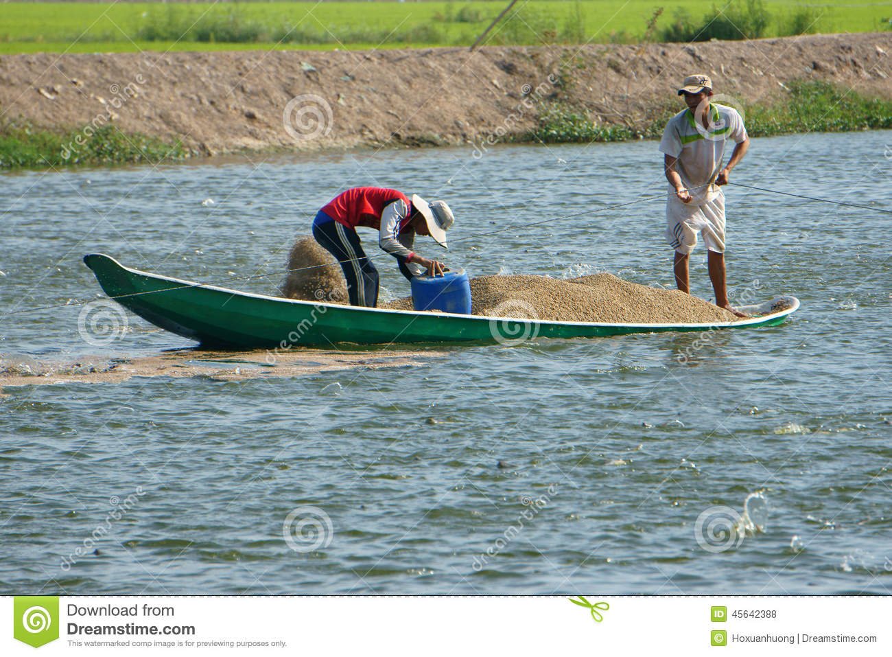 Editorial Stock Photo Asian Farmer Feeding Fish Pond Fishery Dong Thap Viet Nam Sept Two Work Lake Vietnamese Man Mekong Delta Has Many Heap Image45642388 on animal farm landscape