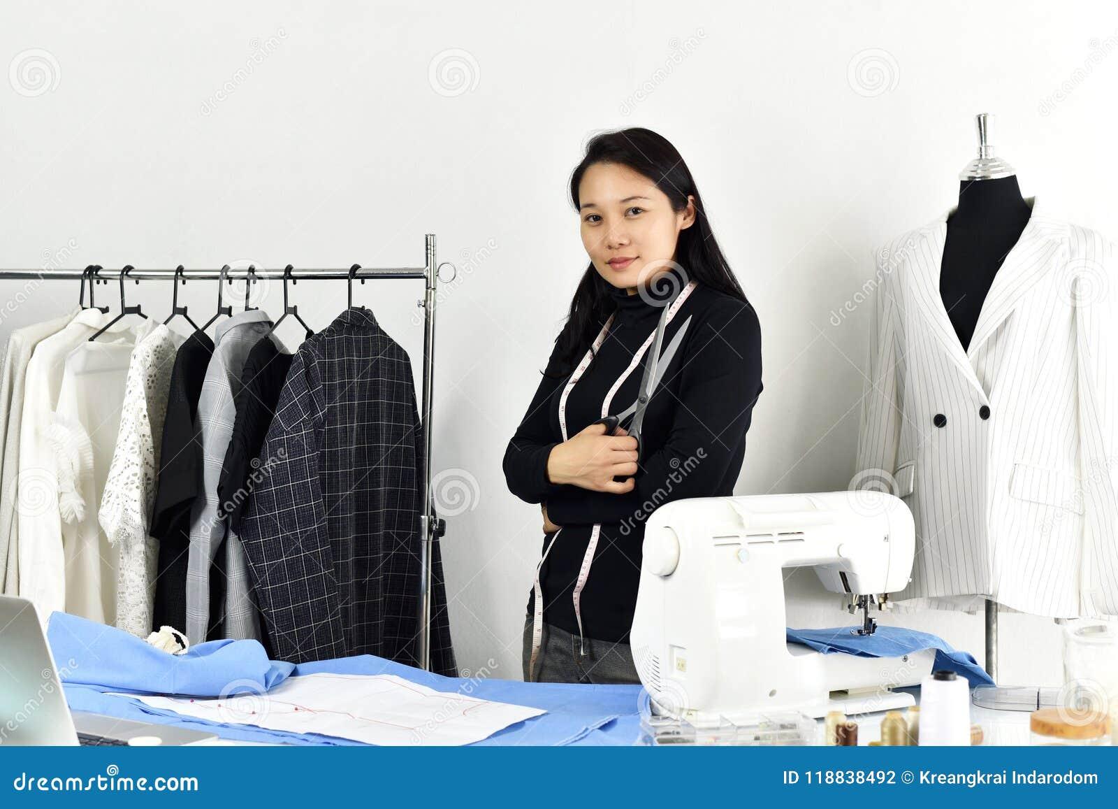 Female Fashion Designer Working At Studio Stock Image ...
