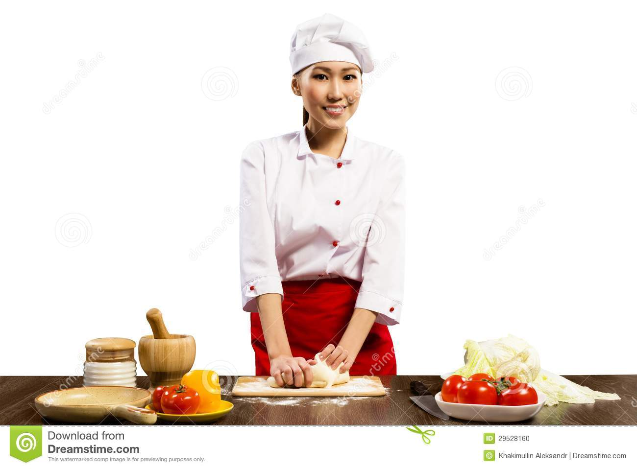 asian female chef cooking pizza dough stock photo image of culinary cuisine 29528160. Black Bedroom Furniture Sets. Home Design Ideas