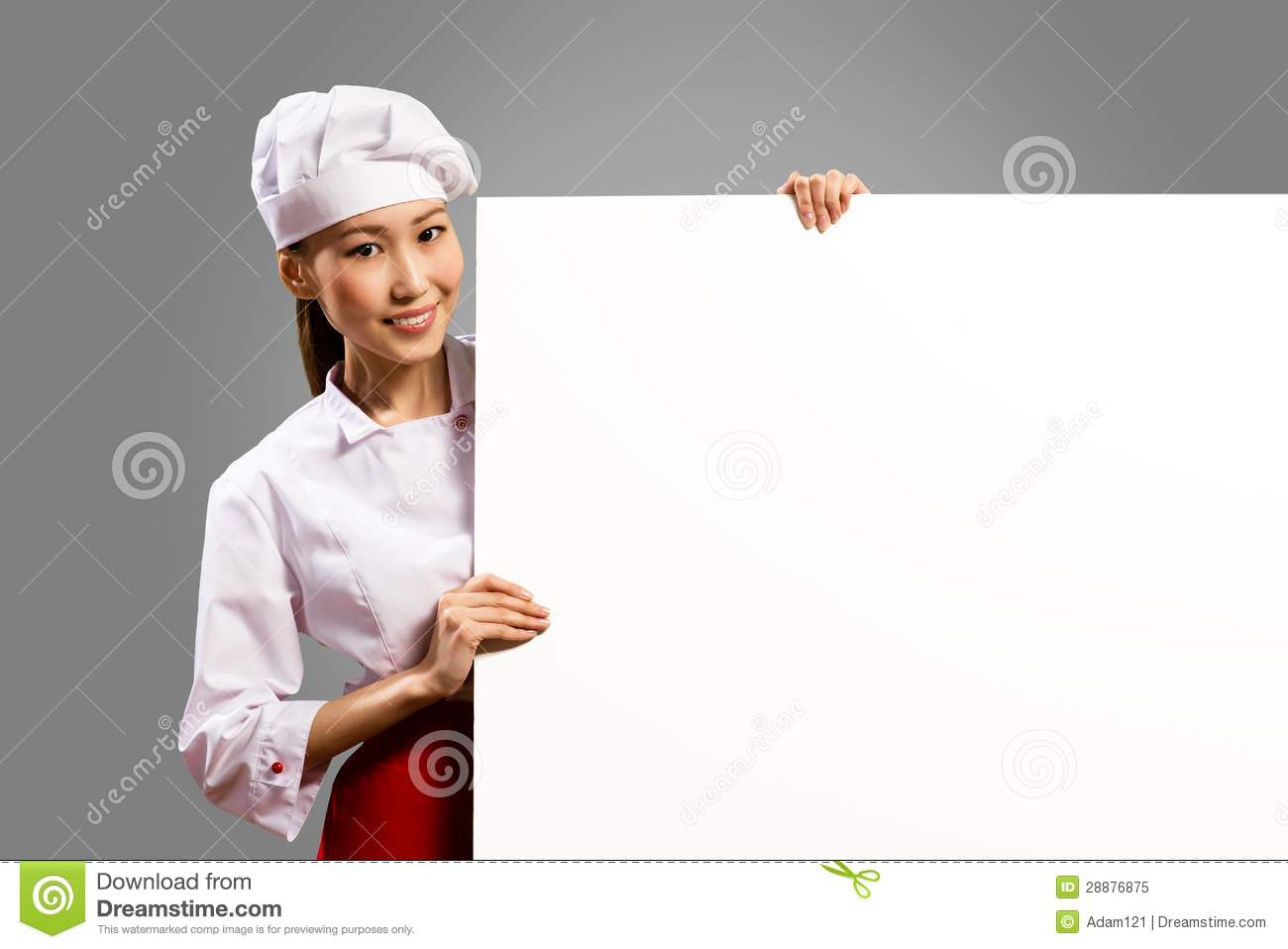 Asian Female Chef Holding Poster For The Text Royalty Free ...