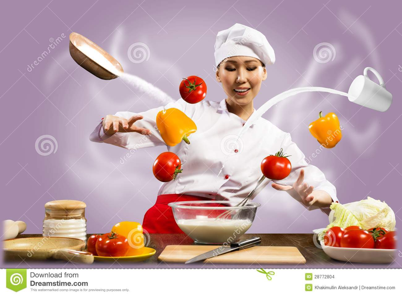 Asian Female Chef In The Kitchen Conjures Stock Photo ...