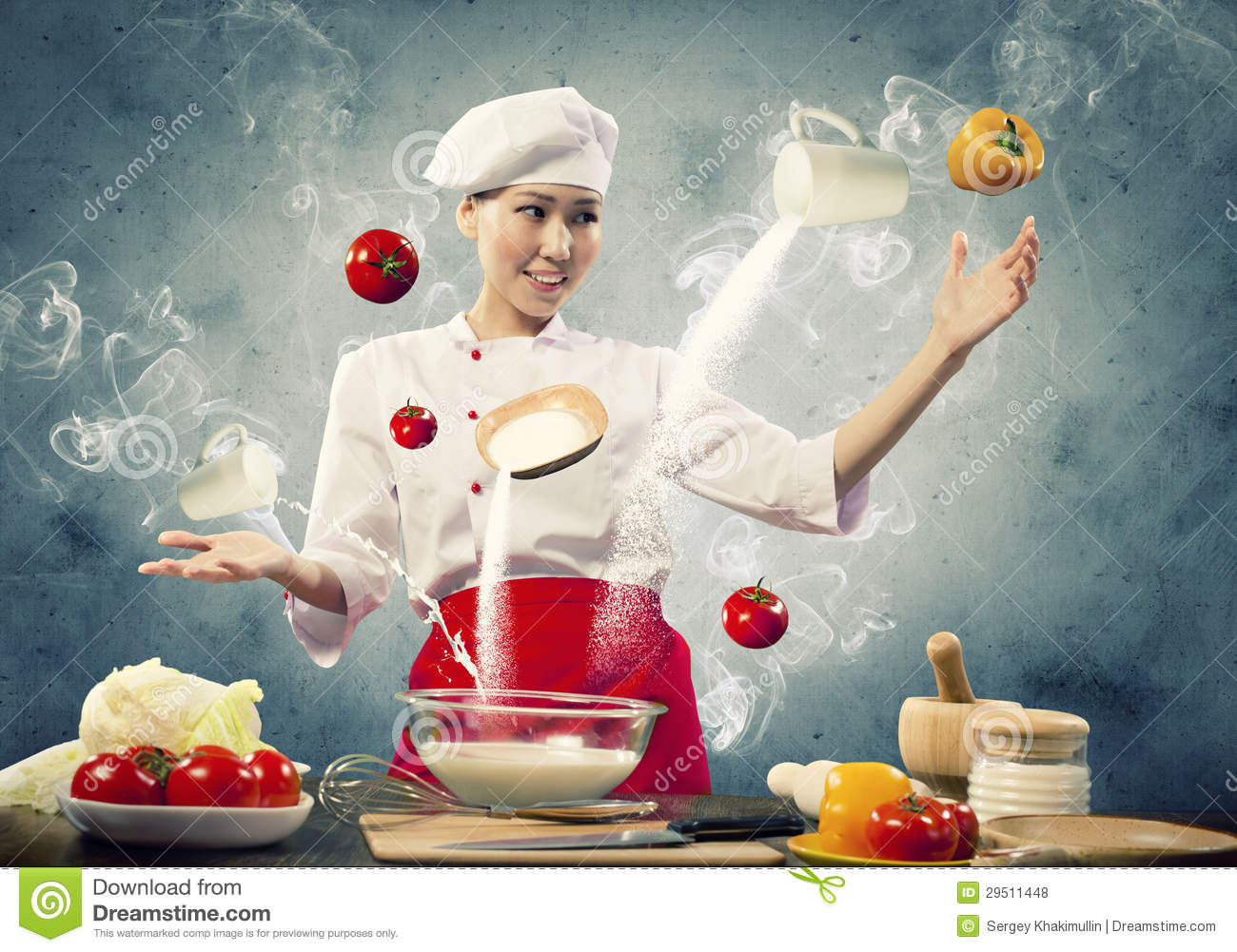 asian female cooking with magic stock photo   image 29511448