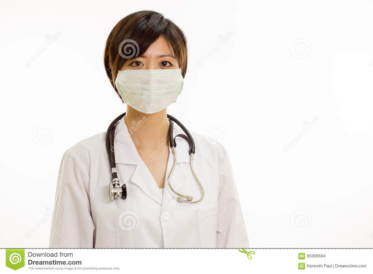With Stock Looking Female Camera Doctor Asian Surgical Mask At