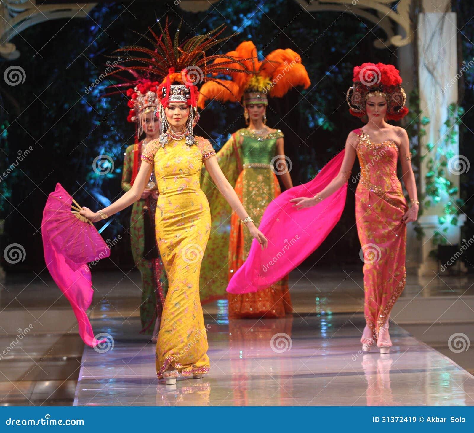 Asian Female Model Wearing Batik At Fashion Show Runway