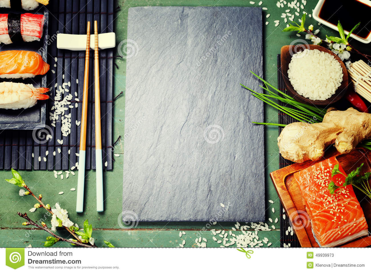 Asian food background stock image image of copyspace for Asian cuisine ingredients
