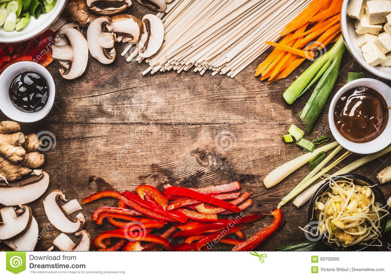 Asian food background with vegetarian cooking ingredients for Asian cuisine ingredients