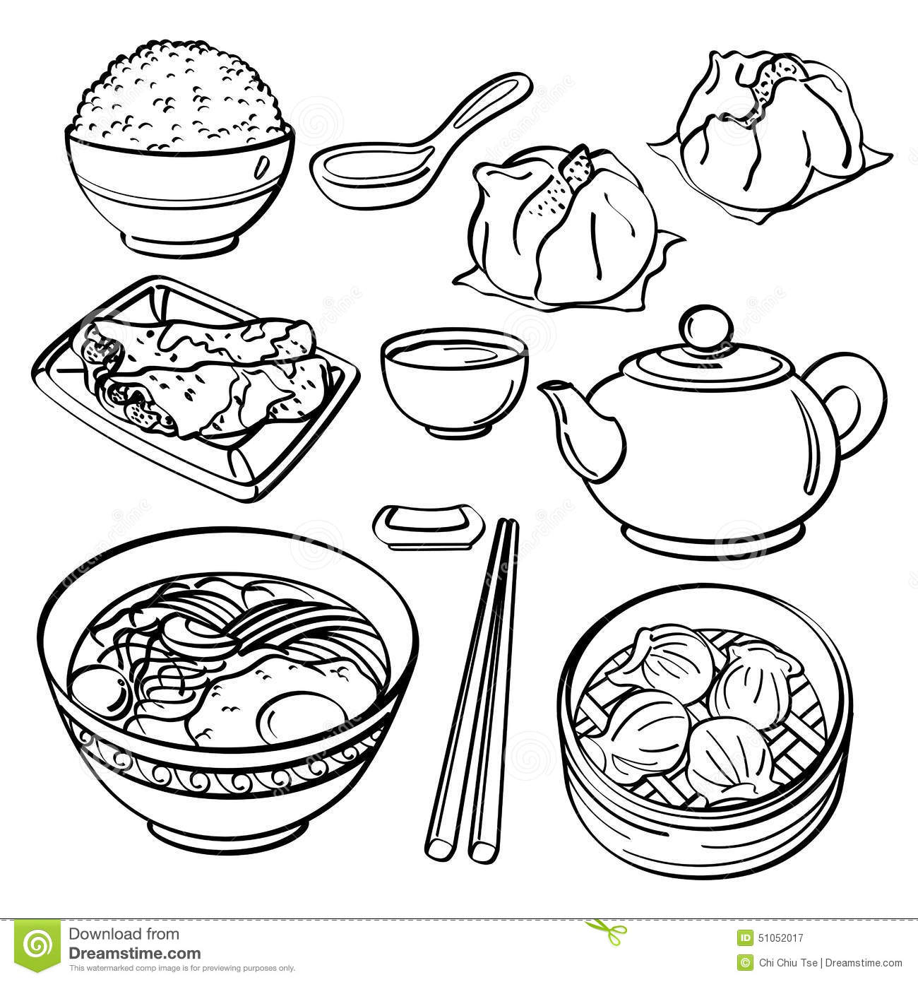 Asian food collection stock illustration image 51052017 for Asian cuisine indian and thai food page