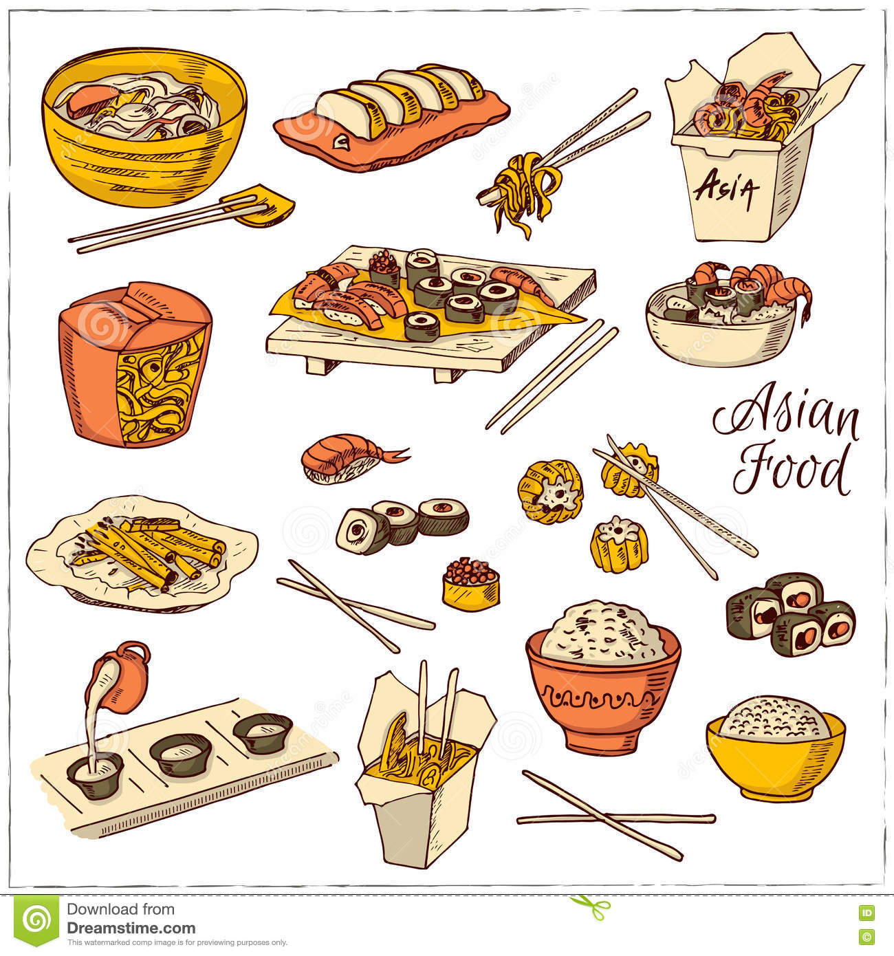 Asian food decorative chinese food icons set stock vector download comp forumfinder Image collections