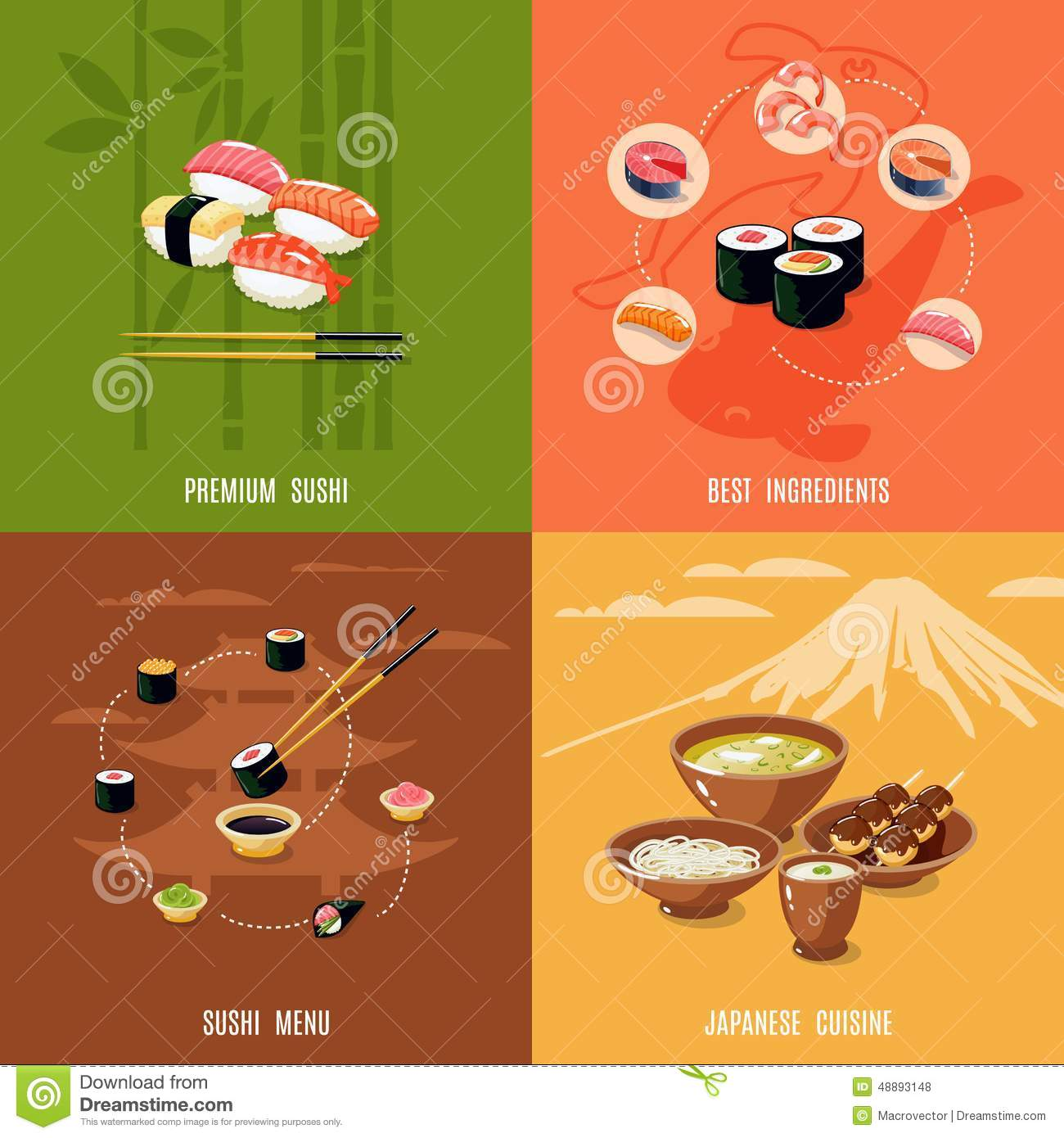 Asian food design concept stock vector image 48893148 for Design cuisine