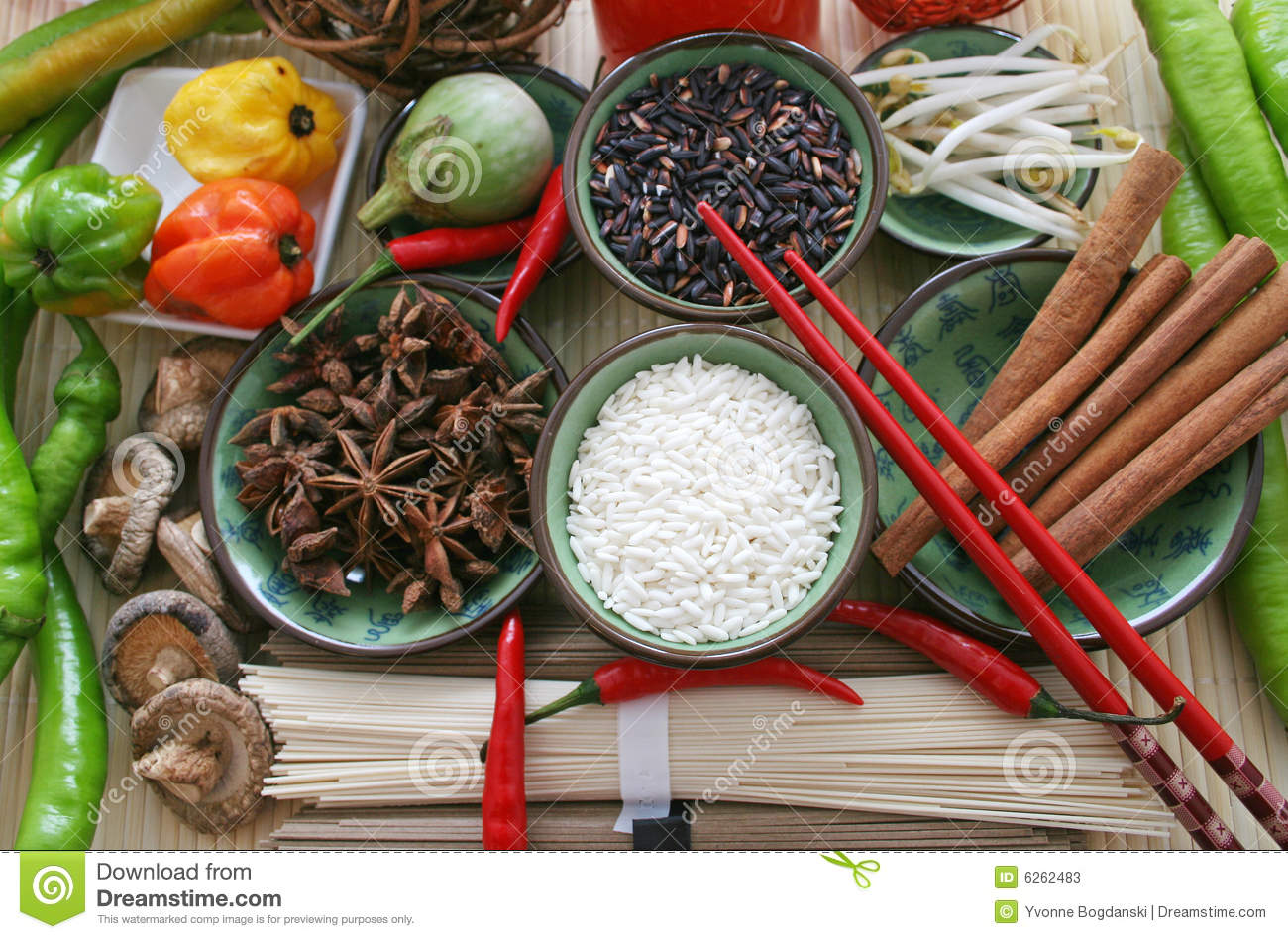 Asian food ingredients stock image image of arranged for Asian cuisine ingredients