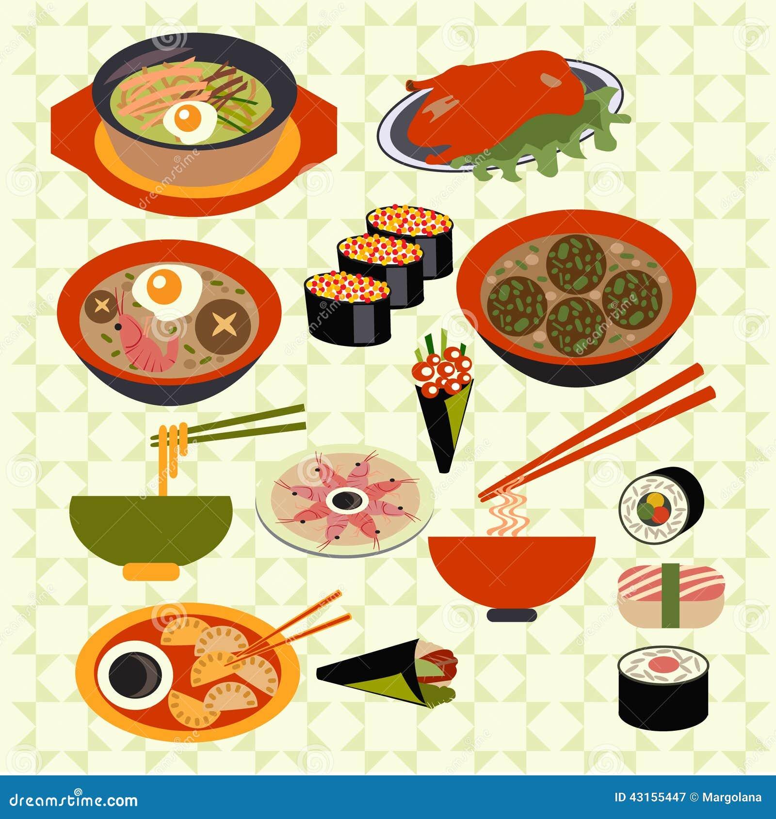 Cuisine Illustration asian food japanese dishes - illustration stock vector