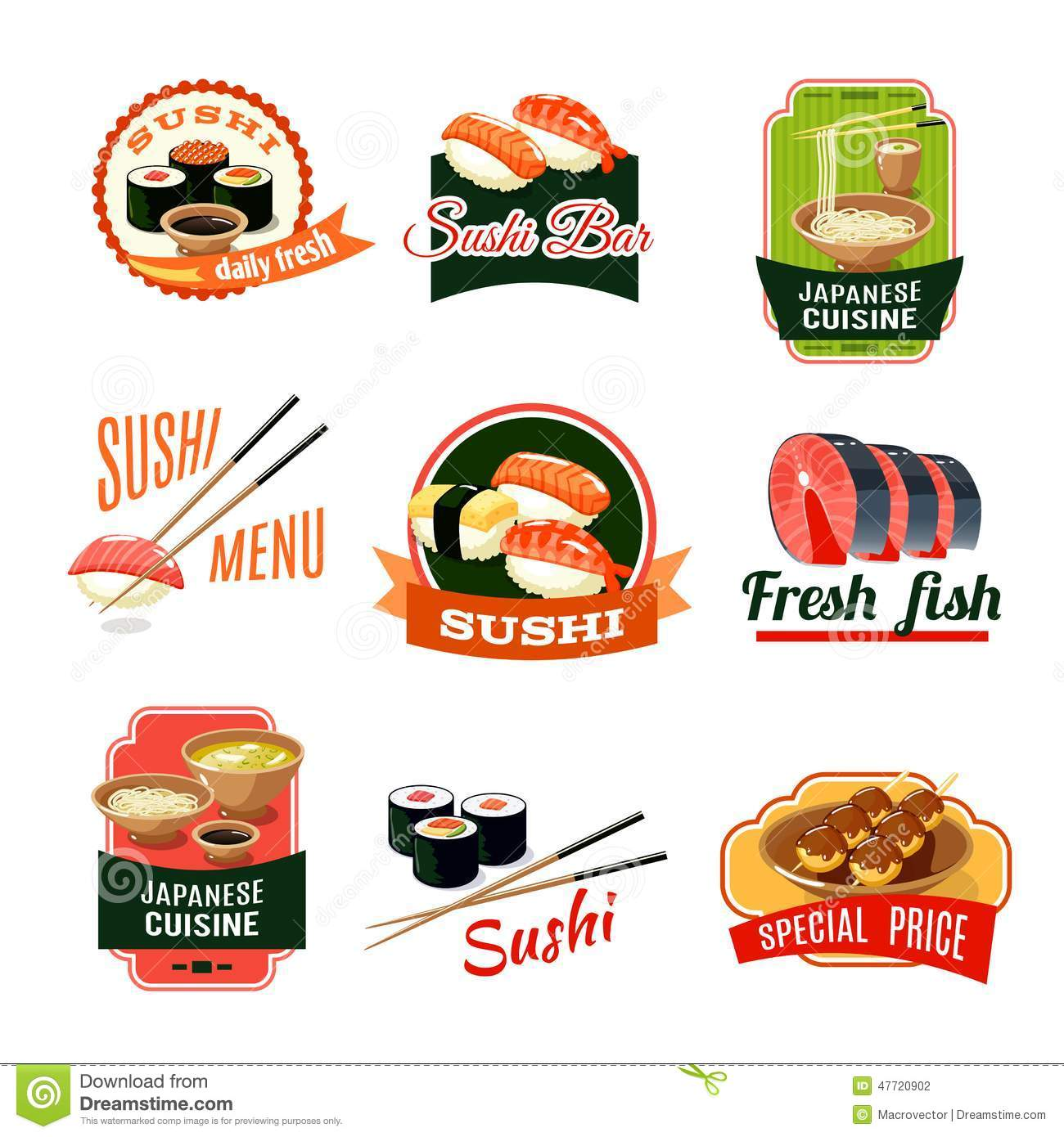 Asian Food Labels Stock Vector - Image: 47720902 - photo#44