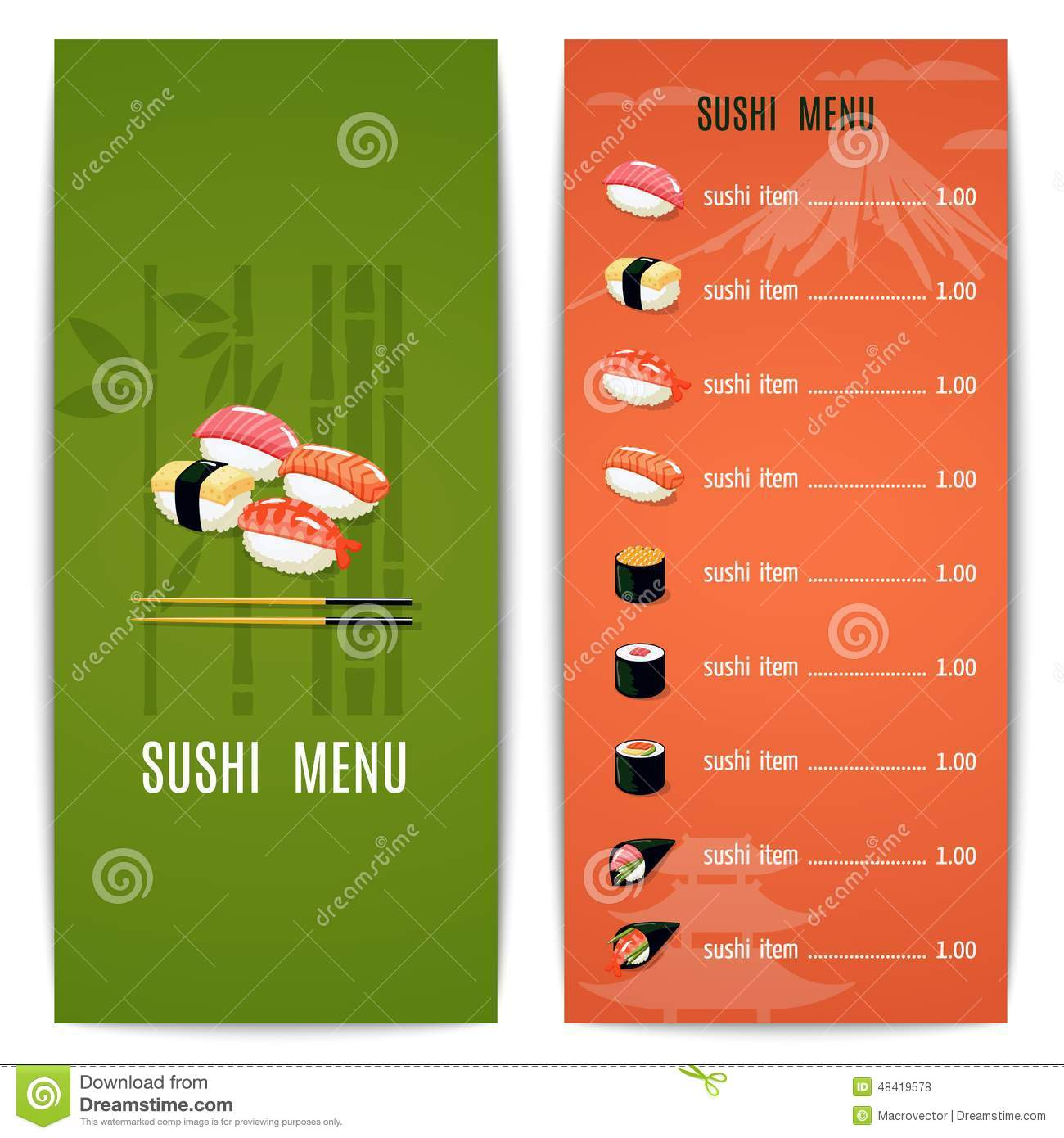 Asian food menu stock vector image 48419578 for Asian cuisine menu