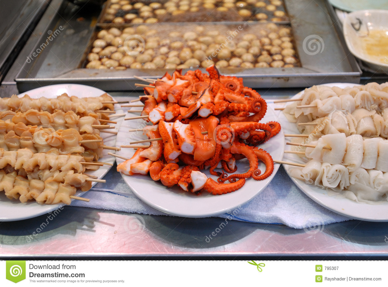 Asian food seafood skewers royalty free stock photography for Authentic asian cuisine