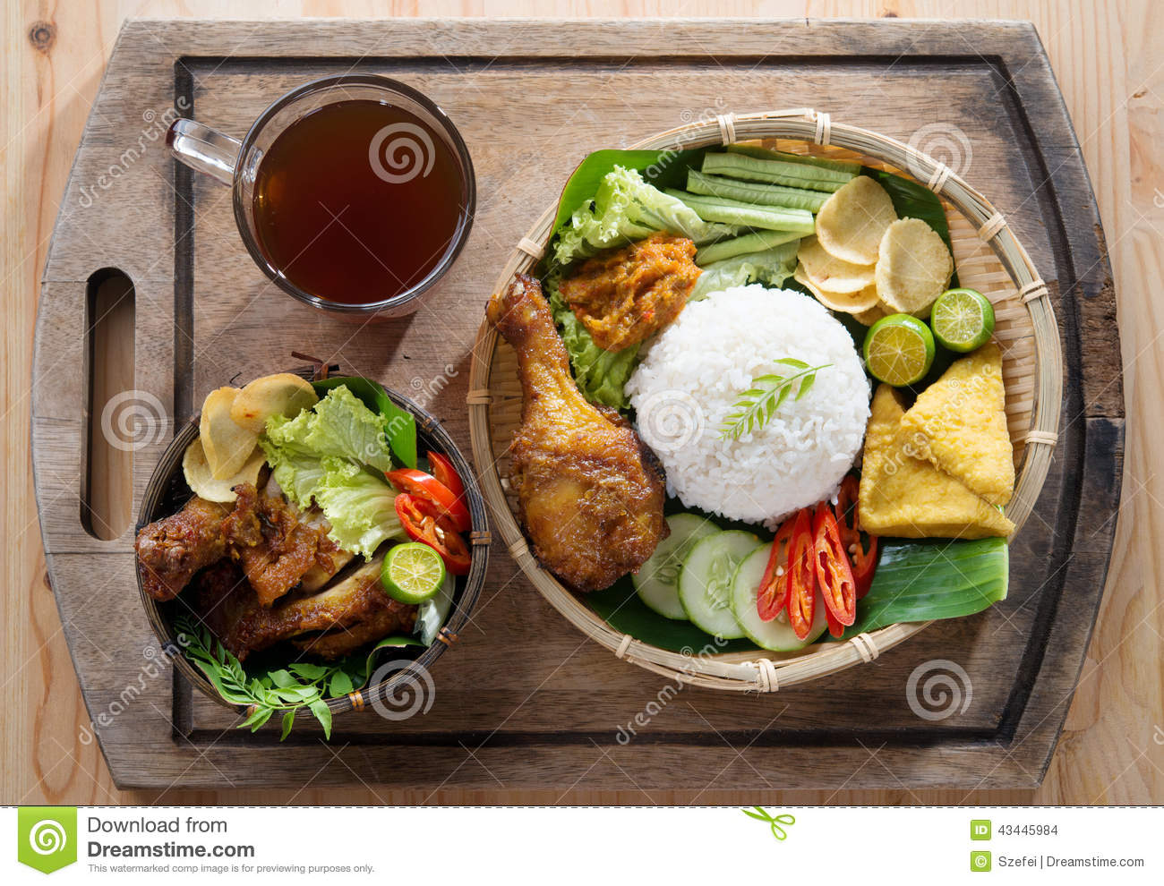 Asian fried chicken meal set stock photo image 43445984 for Authentic indonesian cuisine
