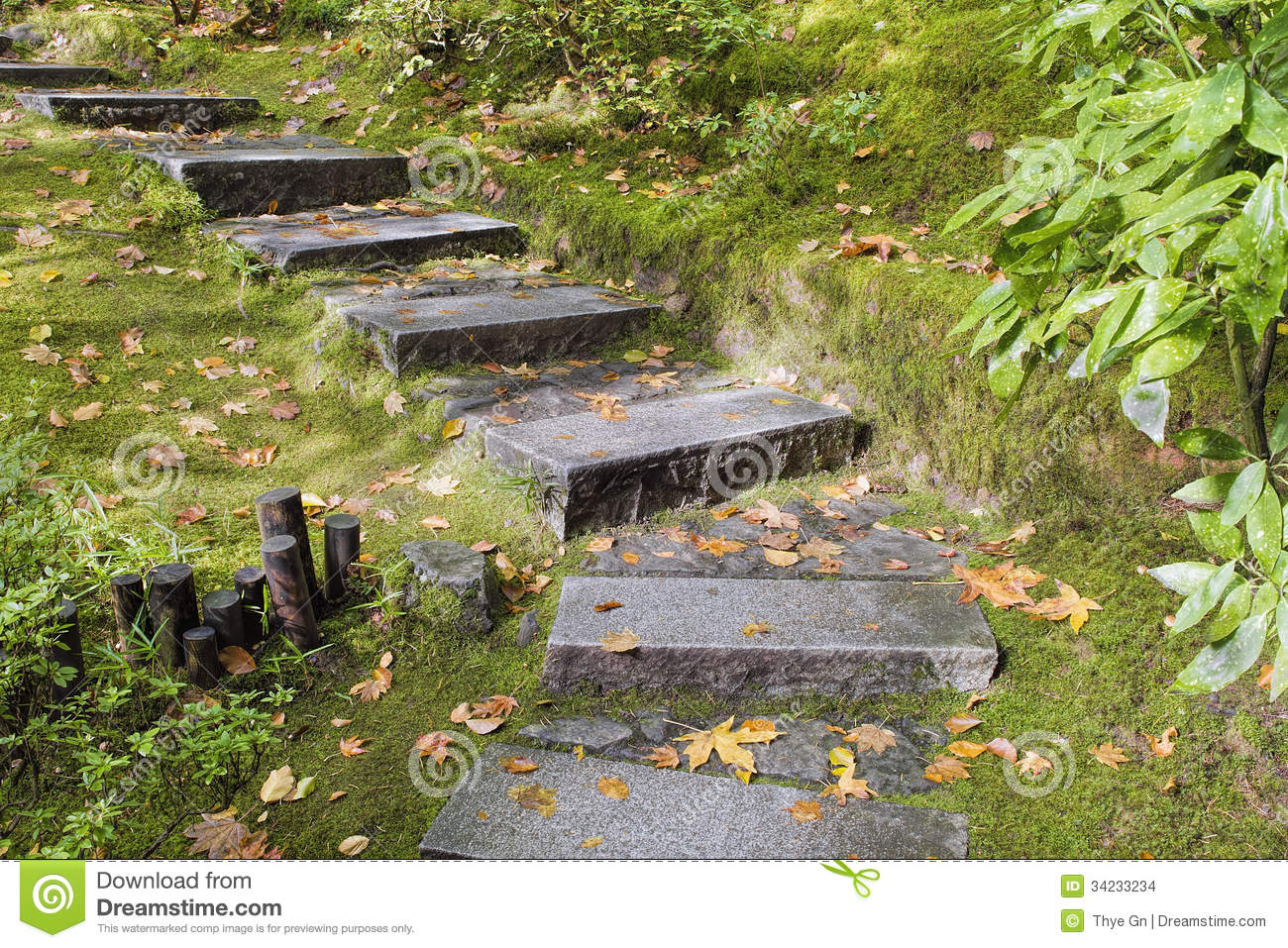 Asian Garden Granite Stone Steps Stock Photo Image 34233234