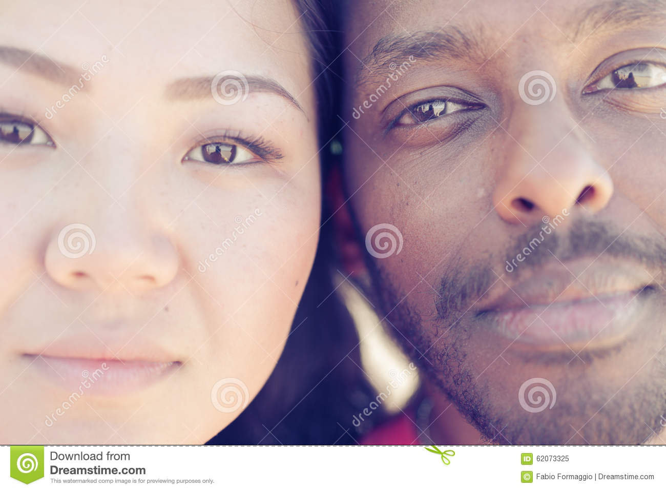 Asian Girl And Black Man Portrait Stock Image - Image Of -3015