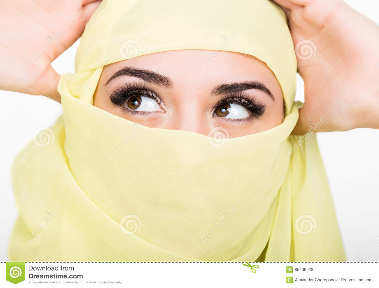Asian Girl With Brown Eyes Posing In A Yellow Scarf, Muslimah Model In Hijab Isolated -1665