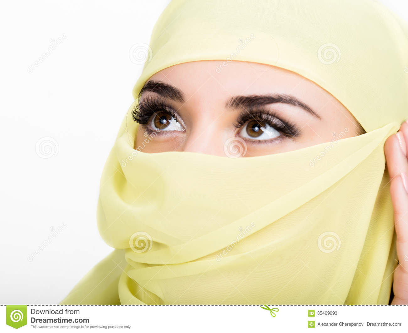 Asian Girl With Brown Eyes Posing In A Yellow Scarf, Muslimah Model In Hijab Isolated -5182