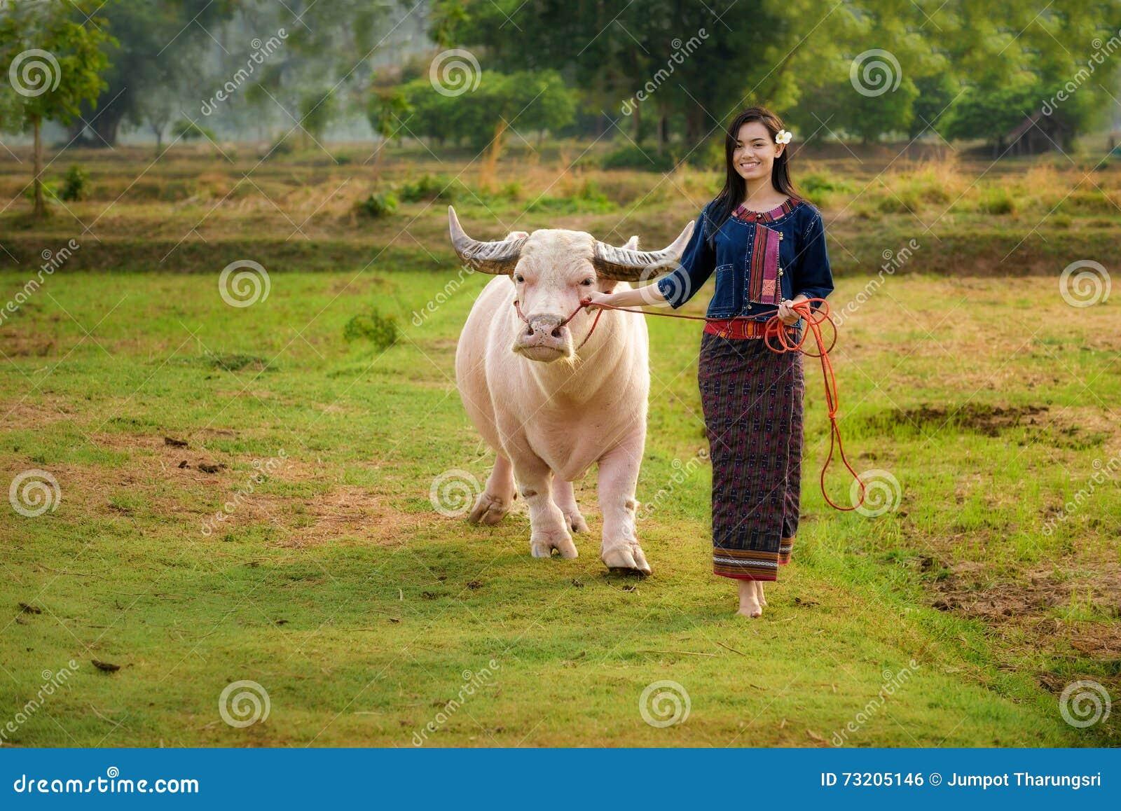 Asian girl with buffalo