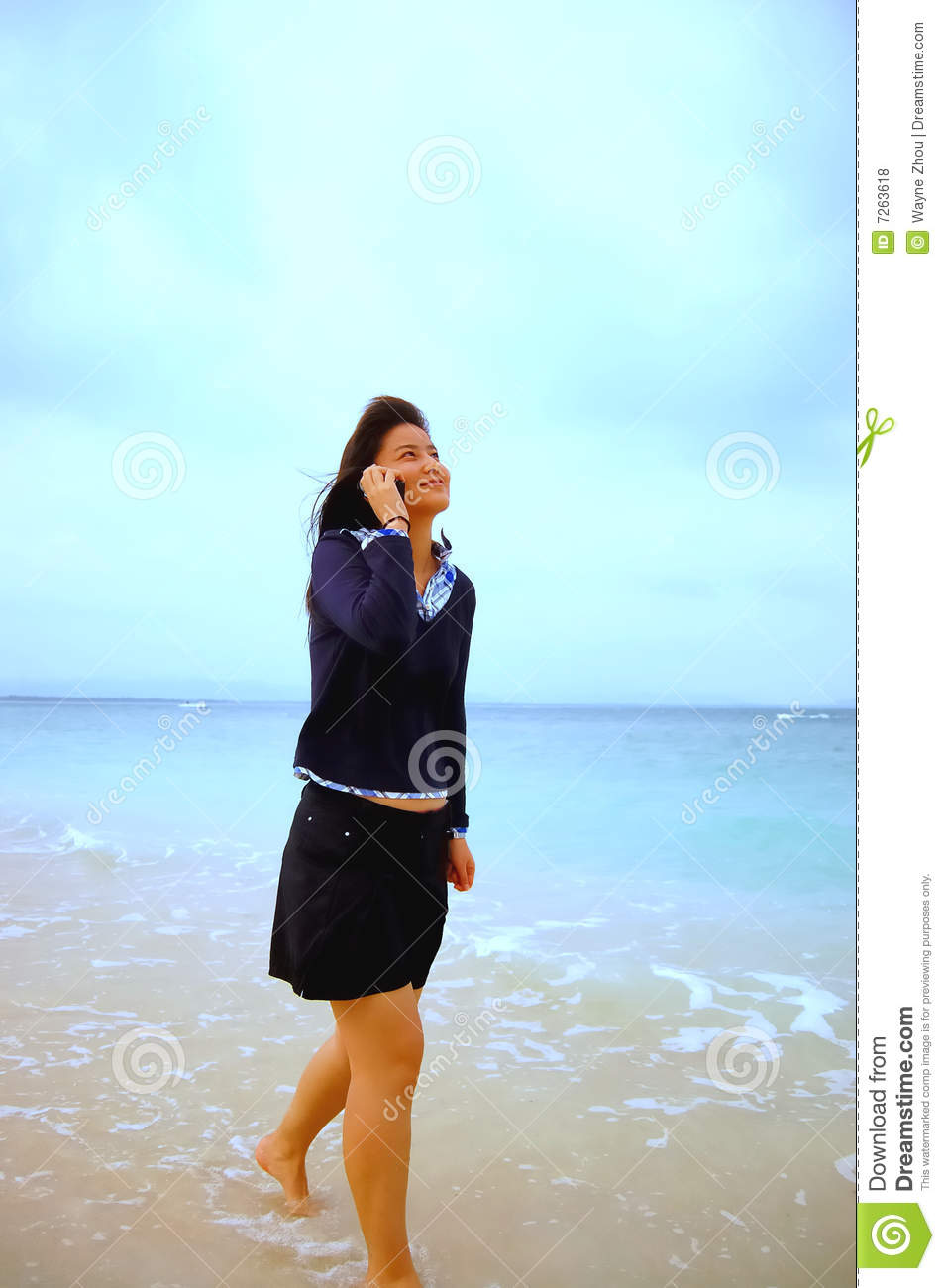 Asian girl on cell phone stock image Image of asian