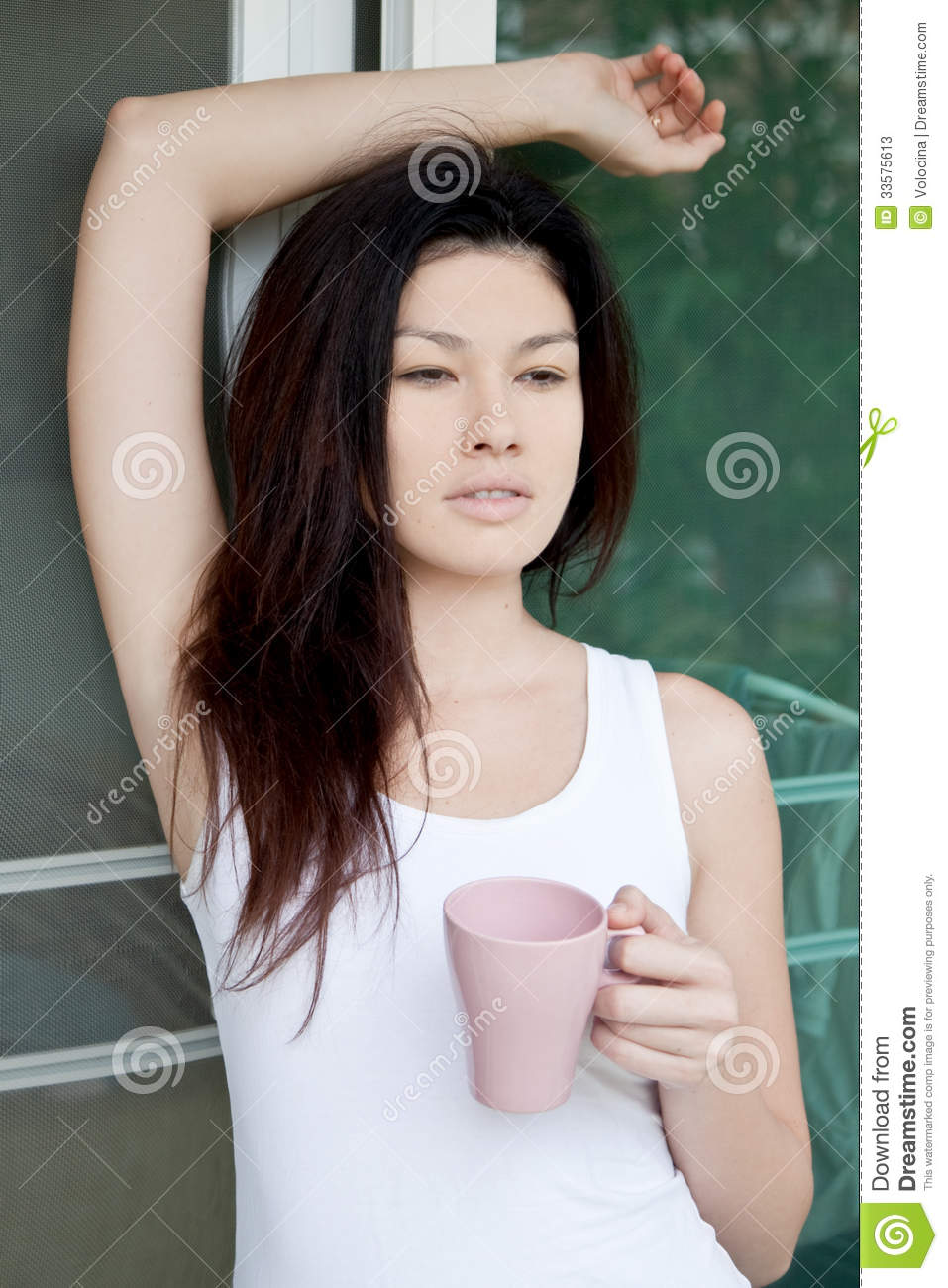 asian girl with a cup of coffee stock photos   image 33575613