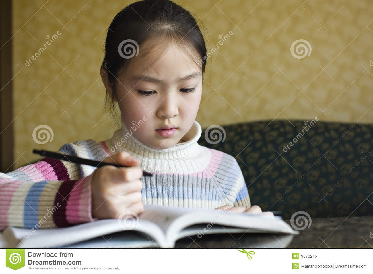 Asian Girl Doing Homework on homework to print