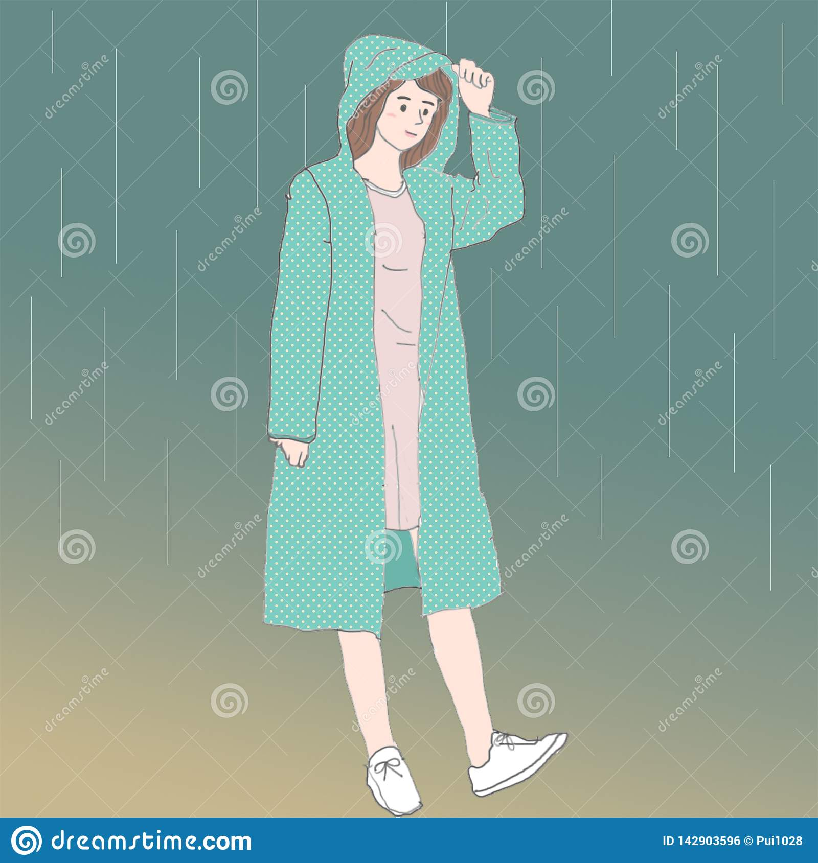 a cute Asian girl with a green Raincoat