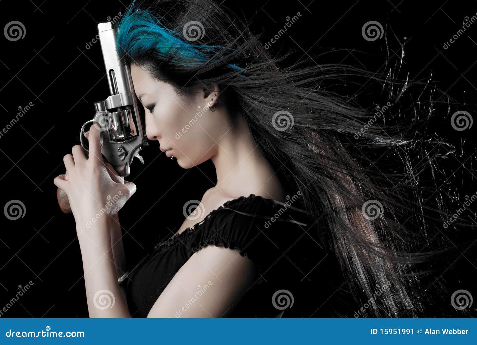Asian girl with gun