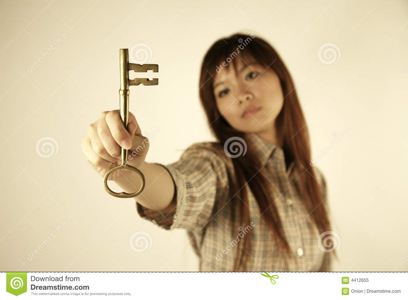 Asian girl with key