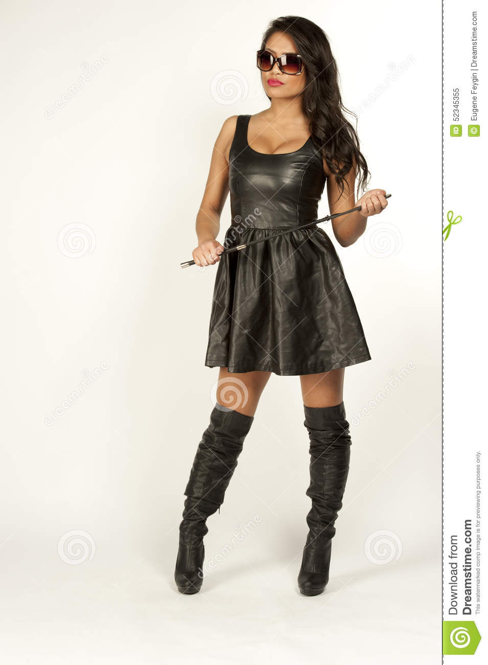 Asian Girl In A Leather Dress Stock Photo Image 52345355