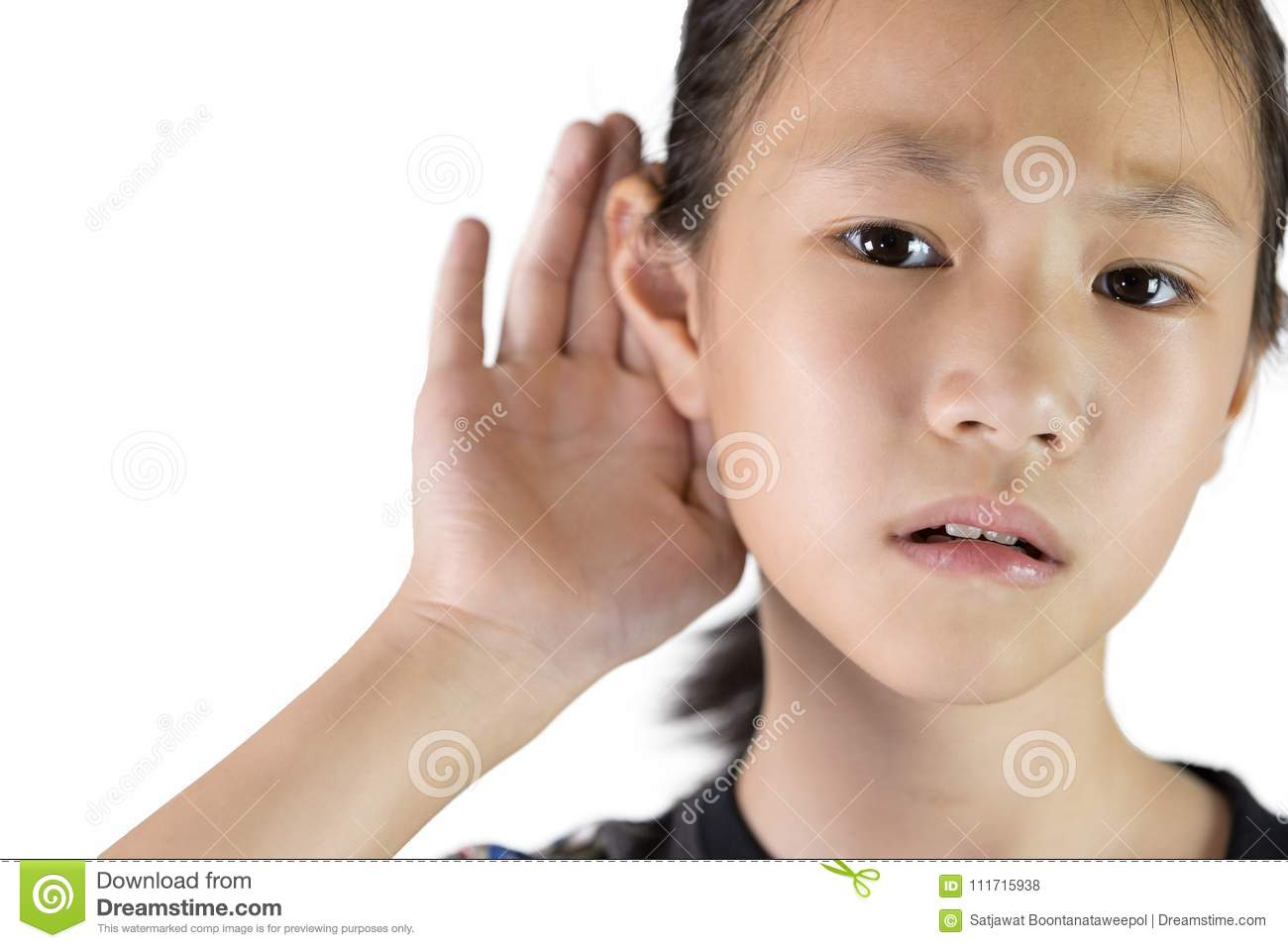Asian girl listening by hand's up to the ear