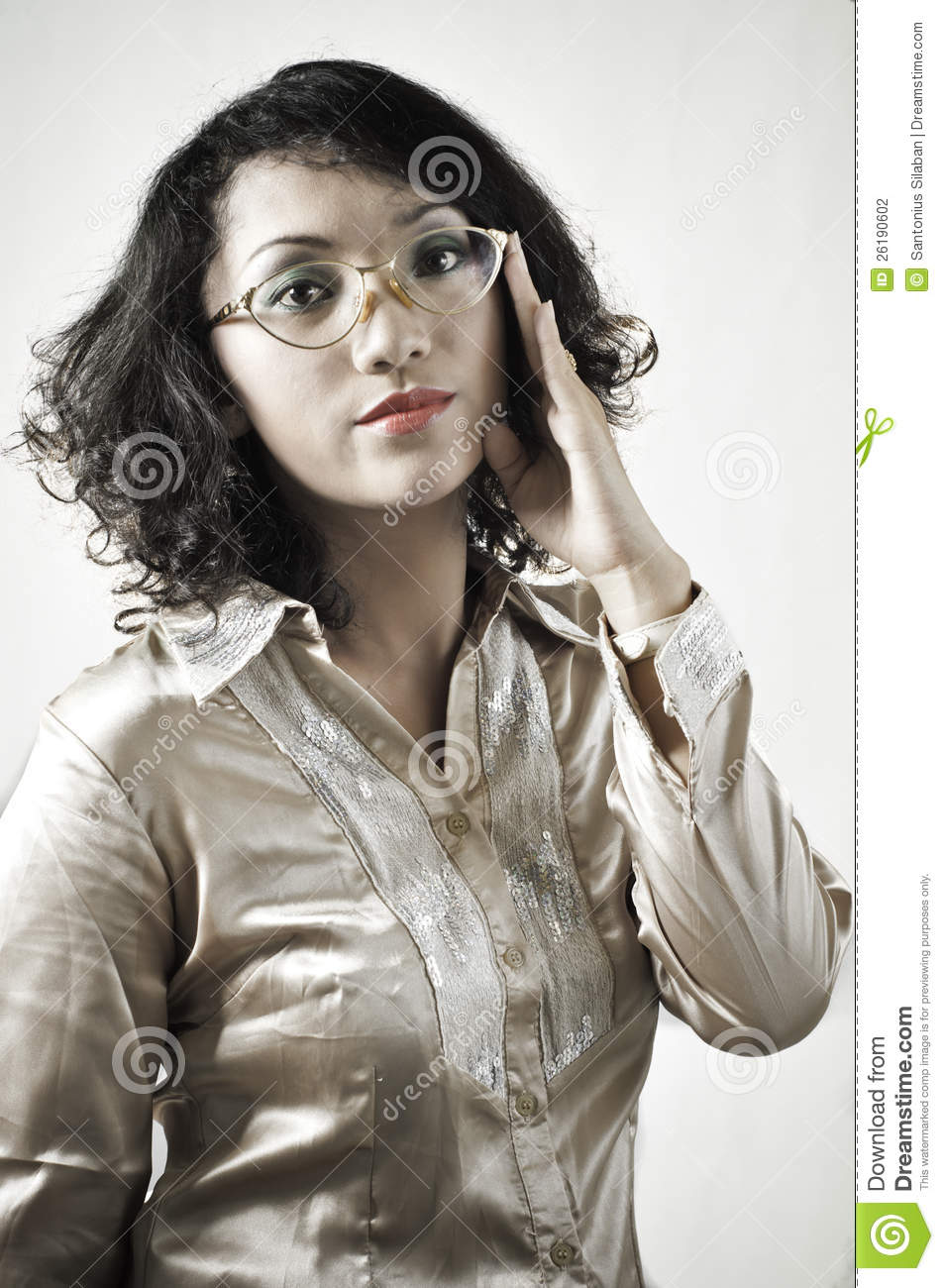 Asian Girl With Old Glasses 9 Stock Photography Image