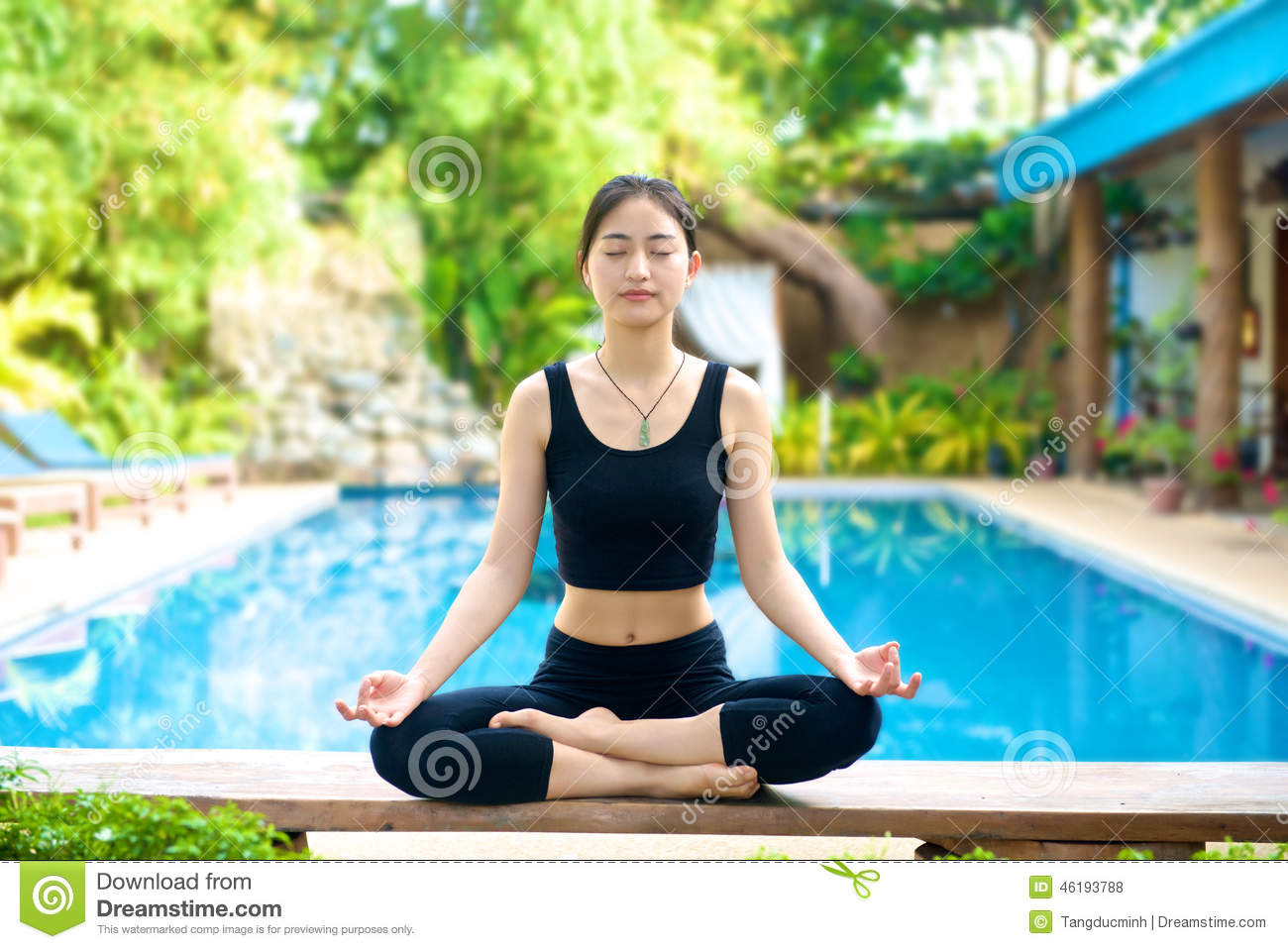 Asian Girl Practicing Yoga On A Bench Stock Photo Image 46193788
