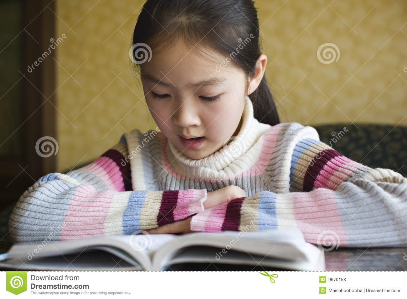 Asian girl reading a book stock photo. Image of pupil ...